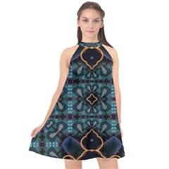 Blue Pattern Halter Neckline Chiffon Dress