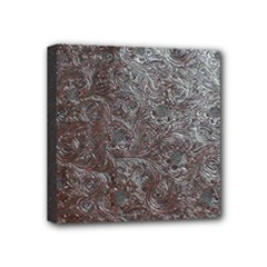 Leather Look & Skins Black And Brown Floral Mini Canvas 4  x 4  (Stretched)