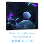 Home Decor Music of my Goddess, Abstract Cyan Mystery Planet