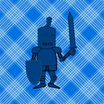Blue Knight on Plaid