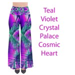 Teal Violet Crystal Palace, Abstract Cosmic Heart