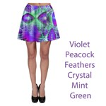 Violet Peacock Feathers, Abstract Crystal Mint Green