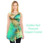 Golden Teal Peacock, Abstract Copper Crystal