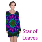 Star of Leaves, Abstract Magenta Green Forest