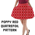 Poppy Red Quatrefoil pattern