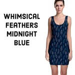 Whimsical Feather Pattern, Midnight Blue,