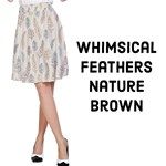 Whimsical Feather Pattern, Nature brown,