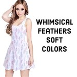 Whimsical Feather Pattern, soft colors,