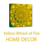 Home Decor Wheel of Fire Mandala, Yellow Green