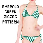 Emerald Green & White ZigZag pattern