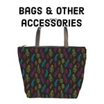 Bright on Black feather pattern - Bags & accessories