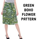 Green Boho hippie flower pattern