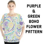 Purple, Green, Yellow hippie flower pattern