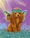 red poodle in forgetmenots 8 by 10