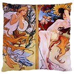 Four Seasons by Alphonse Mucha 1895 Large Cushion Case (Two Sides)