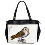 Vintage Owl Illustration Oversize Office Handbag (Two Sides)