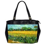 View Of Arles With Irises In The Foreground By Vincent Van Gogh 1888  Oversize Office Handbag (Two Sides)