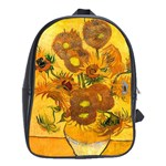 Vase With Fifteen Sunflowers By Vincent Van Gogh 1888 School Bag (XL)