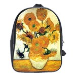 Vase With Fifteen Sunflowers By Vincent Van Gogh 1889 School Bag (Large)