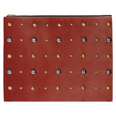 Studded Faux Leather Red Cosmetic Bag (xxxl) by artattack4all