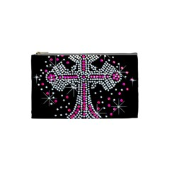 Hot Pink Rhinestone Cross Small Makeup Purse by artattack4all