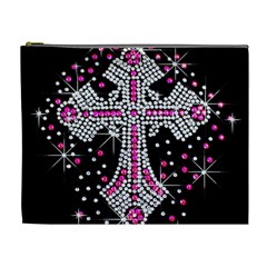 Hot Pink Rhinestone Cross Extra Large Makeup Purse by artattack4all