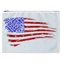 Sparkling American Flag Cosmetic Bag (xxl) by artattack4all