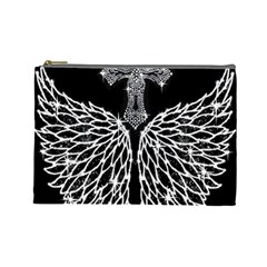 Bling Wings And Cross Large Makeup Purse by artattack4all