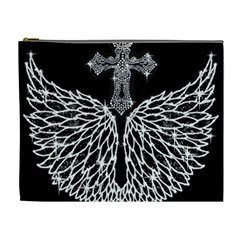 Bling Wings And Cross Extra Large Makeup Purse by artattack4all
