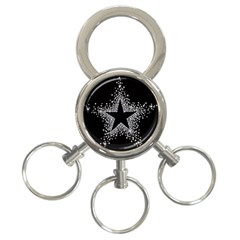 Sparkling Bling Star Cluster 3 Ring Key Chain by artattack4all