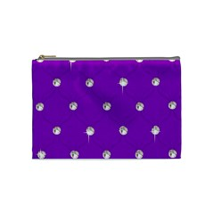 Royal Purple And Silver Bead Bling Medium Makeup Purse by artattack4all