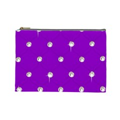 Royal Purple And Silver Bead Bling Large Makeup Purse by artattack4all
