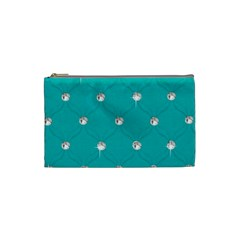 Turquoise Diamond Bling Small Makeup Purse by artattack4all