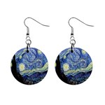 Starry Night By Vincent Van Gogh 1889 1  Button Earrings