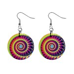 Fractal34 1  Button Earrings