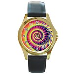 Fractal34 Round Gold Metal Watch