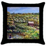 Tenant House in Summer by Ave Hurley - Throw Pillow Case (Black)