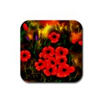 Poppies   by Ave Hurley ~ ArtRave.com Rubber Square Coaster (4 pack)
