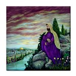 Jesus Overlooking Jerusalem-by AveHurley of ArtRevu - Tile Coaster