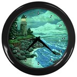 Jerry s Lighthouse by Ave Hurley - Wall Clock (Black)