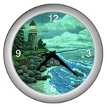 Jerry s Lighthouse by Ave Hurley - Wall Clock (Silver)