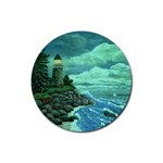 Jerry s Lighthouse by Ave Hurley - Rubber Coaster (Round)