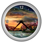 Abigail s Hideaway by Ave Hurley - Wall Clock (Silver)