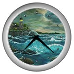 Hobson s Lighthouse by Ave Hurley - Wall Clock (Silver)