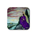 Jesus Overlooking Jerusalem-by AveHurley of ArtRevu - Rubber Coaster (Square)