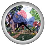 Essex Cottage by Ave Hurley - Wall Clock (Silver)
