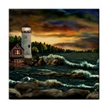David s Lighthouse by Ave Hurley - Tile Coaster