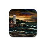 David s Lighthouse by Ave Hurley - Rubber Coaster (Square)