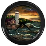 David s Lighthouse by Ave Hurley - Wall Clock (Black)