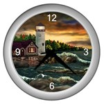 David s Lighthouse by Ave Hurley - Wall Clock (Silver)